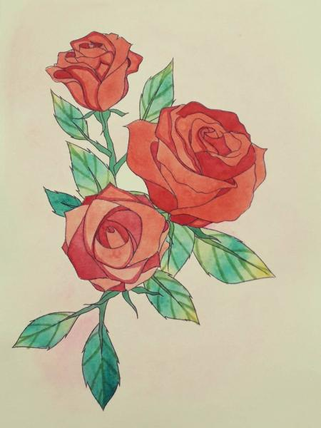 Watercolor painting step by step - How to draw roses
