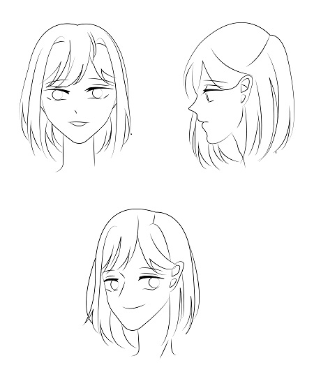 How to draw face of anime girl - step by step