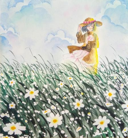 Watercolor painting step by step - Girl in the flower field