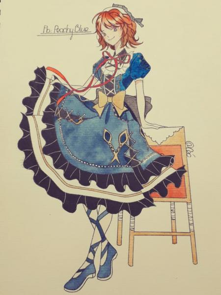 I draw my baby Zweith in lolita dress UwU