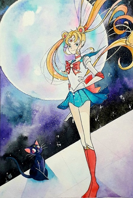 While hooman was busy with Enchantix, I was sitting here drawing sailor moon =)))