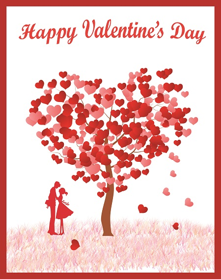 Valentine's greeting card with heart-shaped tree